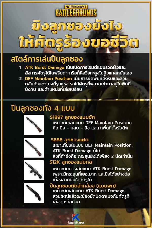 ประเภทปืนลูกซอง PUBG